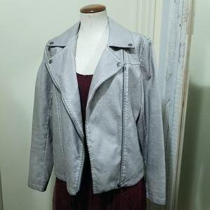 Bagatelle Gray Faux Leather Zip Moto Jacket S
